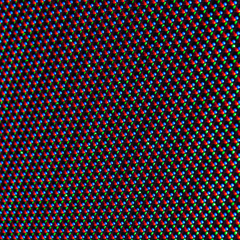 Detail view of a LED display with a matrix of red, green and blue diodes