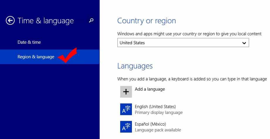 Windows 8.1 PC Language Settings